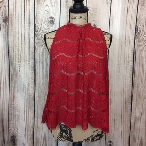 NWOT Love Fire Red Aheer Lace Tank Top Large
